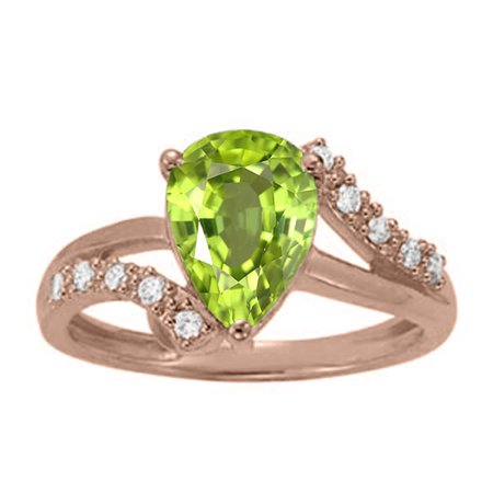 1.85 Ct. Ttw Diamond And Pear Shape Peridot Ring In 10K Rose Gold