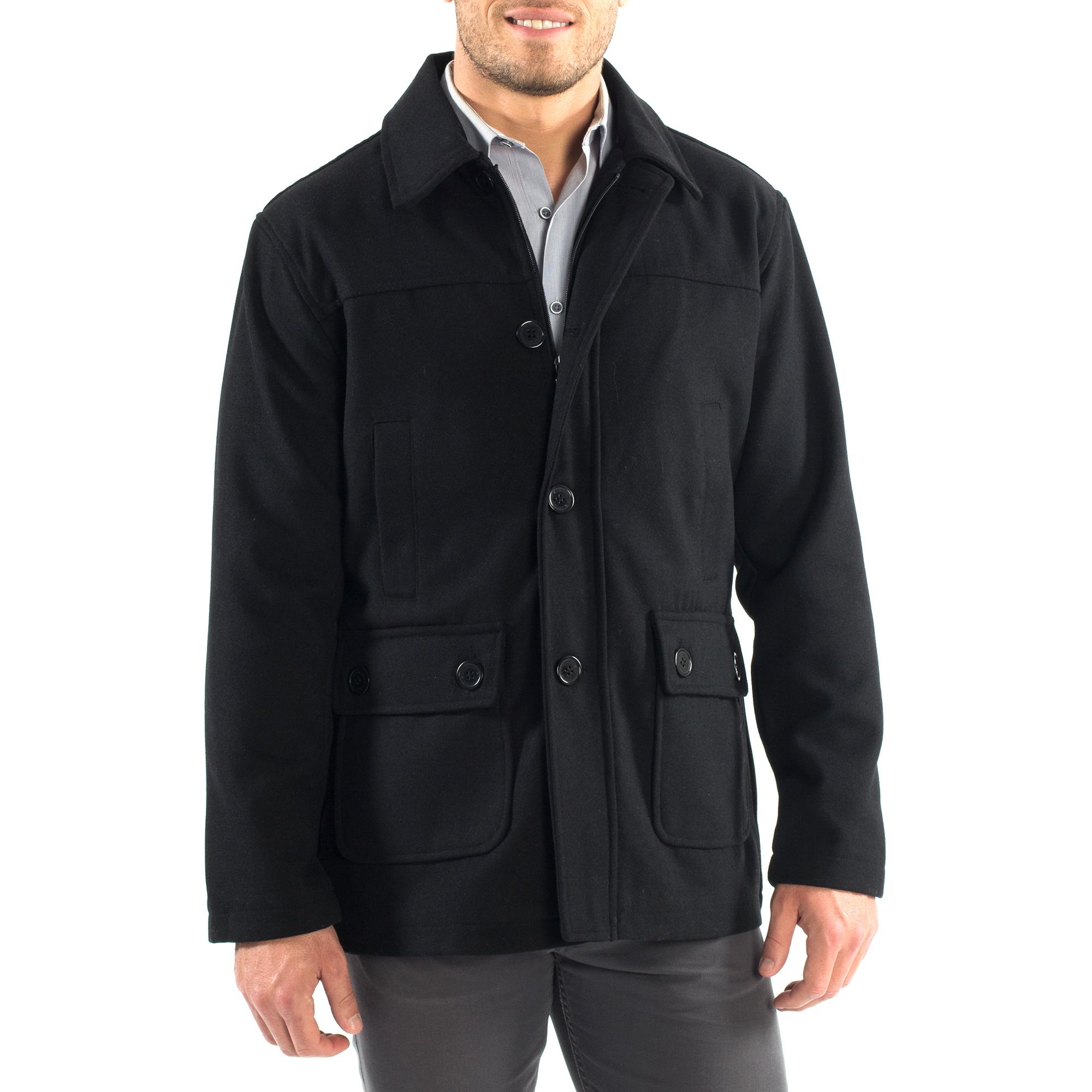 Alpine Swiss Wyat Mens Wool Blend Classic Barn Coat Cargo Pocket Military Jacket