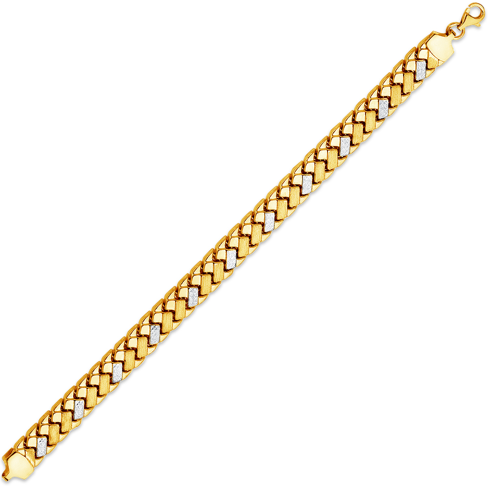 "14k Two 2 Tone White and Yellow Gold Stampato Bracelet 7.25"" by AA Jewels"