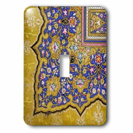 3dRose Purple and matte gold Arabian floral pattern. Persian style flowers and swirls. Arab Islamic Turkish, Single Toggle Switch