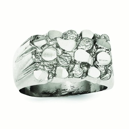 Sterling Silver Mens Nugget Ring - Ring Size: 9 to 12