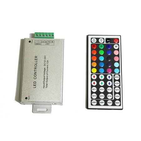 LED4Everything (TM) DC 12V 12A 144W RGB 44 IR Key Remote Controller LED SMD 5050 3528 Strip Lights Metal Case Remote - Ir Remote Led