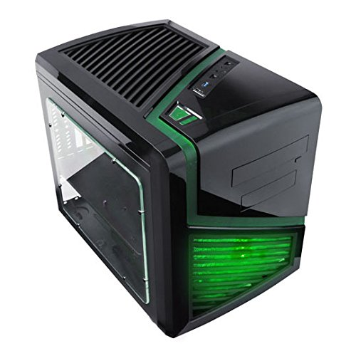 Apevia X-QBER-GN No Power Supply MicroATX Cube Case (Black/Green)