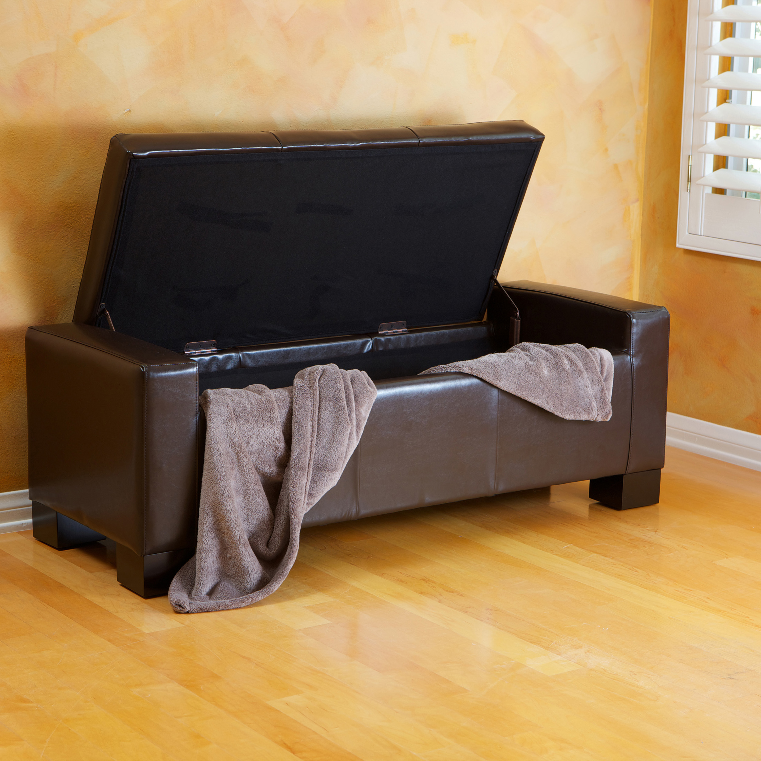 Noble House Jamestown Brown Bonded Leather Storage Ottoman Bench