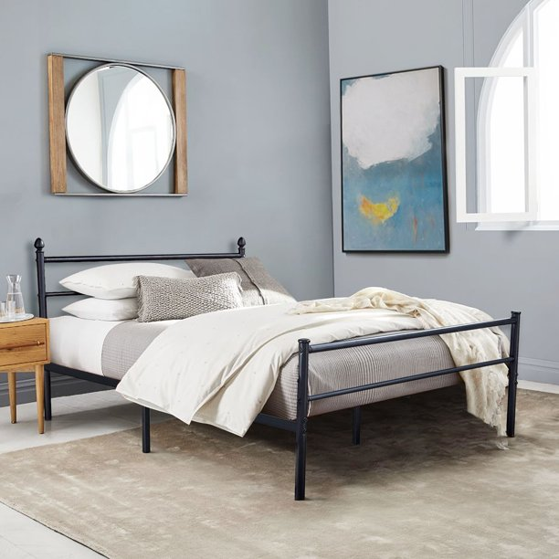 Vecelo Full Size Metal Platform Bed Frame Box Spring Replacement