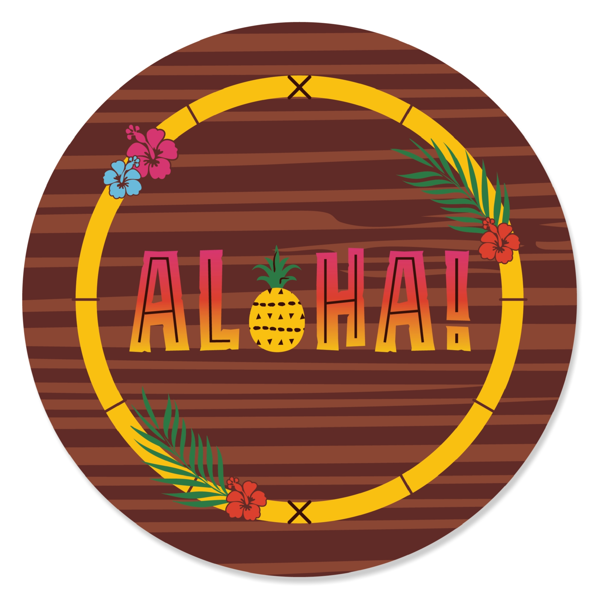 Tiki Luau - Tropical Hawaiian Summer Party Circle Sticker Labels - 24 Count