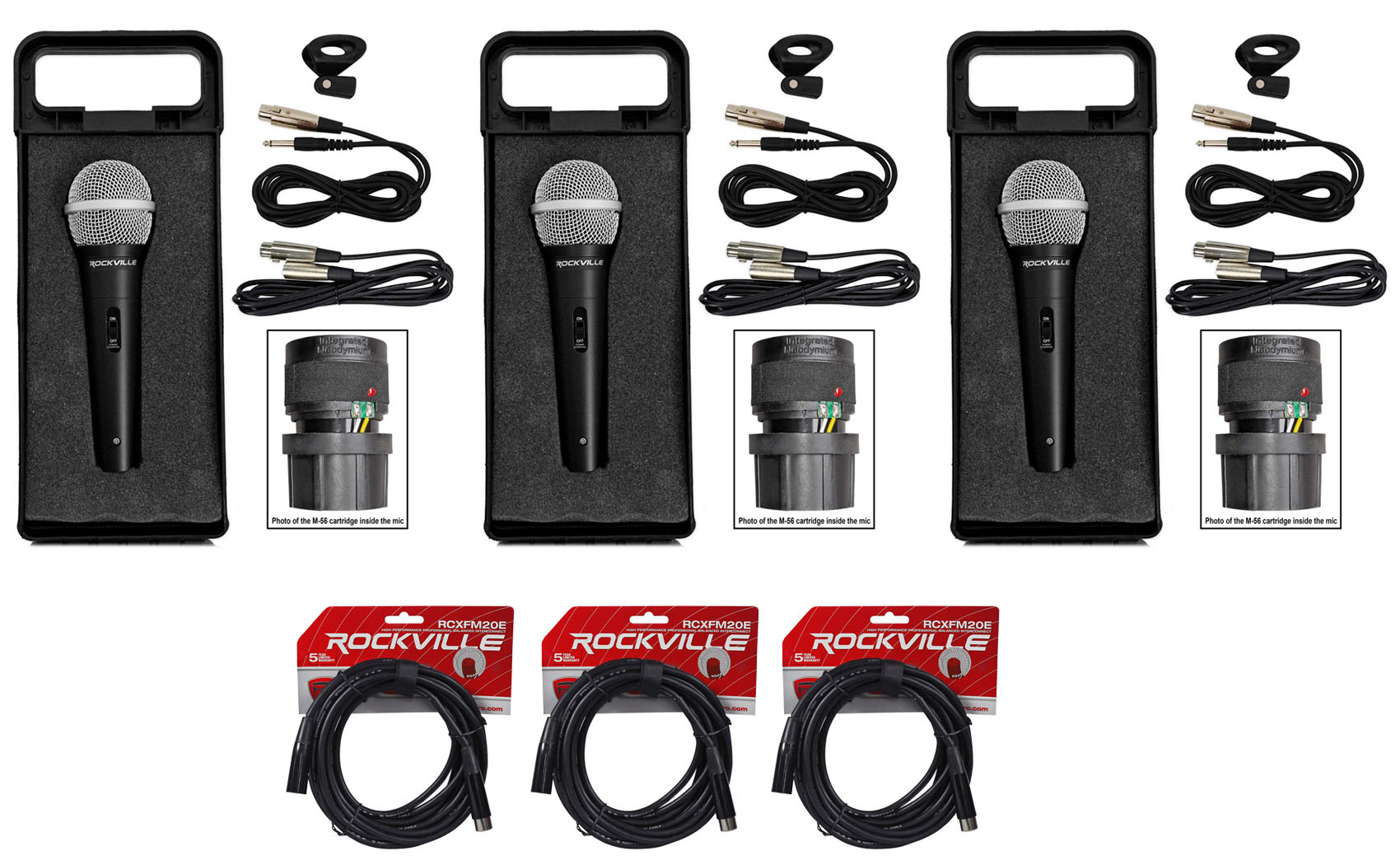 (3) Rockville RMC-XLR Metal Handheld Wired Microphones+(3) 100% OFC XLR Cables by ROCKVILLE