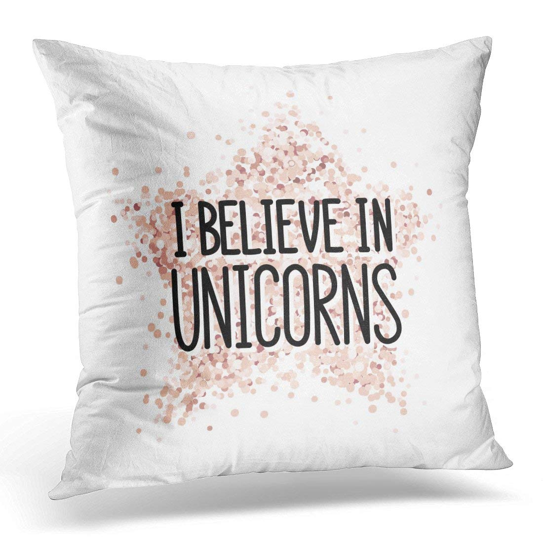 USART White Abstract The Quote I Believe in Unicorns on Pink Gold Glitter Star Sticker Cute Pillow Case Pillow Cover 18x18 inch