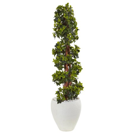 Nearly Natural 4 ft. English Ivy Topiary Artificial Tree in White Oval Planter, UV Resistant (Indoor/Outdoor)