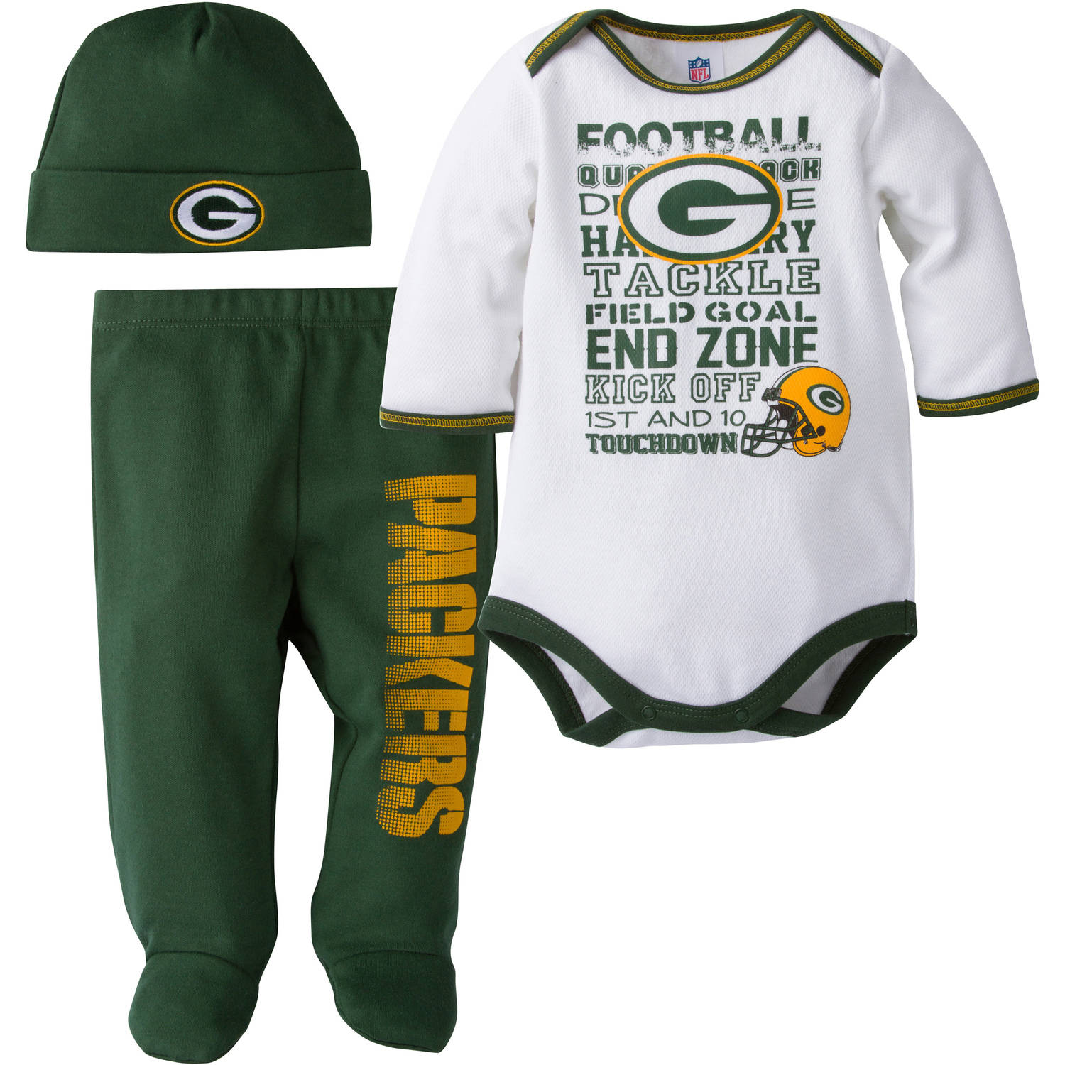 Nfl Green Bay Packers Baby Boys Bodysuit Pant And Cap Outfit Set 3