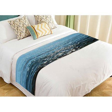 GCKG Beach Theme Bed Runner, Deep Blue Sea Ocean Waves Bed Runners Scarves Bed Decoration 20x95 inch ()
