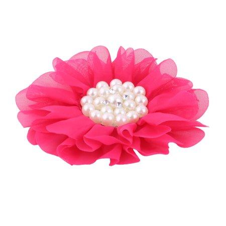 Bride Wedding Plastic Imitation Pearl Decor Clothes DIY Headwear Flower Fuchsia
