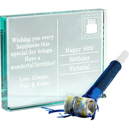Personalized birthday postcard glass block for Glass block options