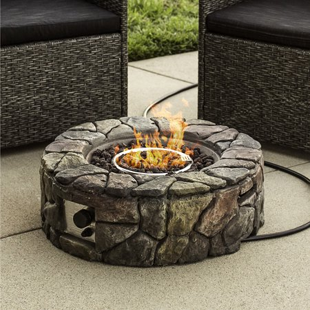 Best Choice Products Outdoor Patio Natural Stone Gas Fire Pit for Backyard and Garden with Cover,