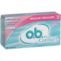 O.B. Tampon Procomfort Regular With Silk Touch Cover, 18 Ea