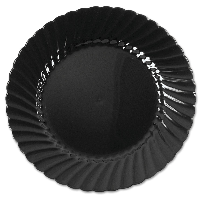 "WNA Classicware Plastic Plates, 6"" Dia., Black, Round, 10 Plates/Pack"