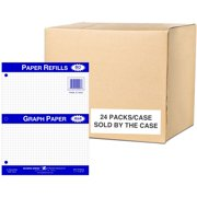 """Roaring Spring 4x4 Graph Ruled Loose Leaf Filler Paper, 3 Hole Punched, 1 Case (24 Packs), 11"""" x 8.5"""" 80 Sheets, White Paper"""