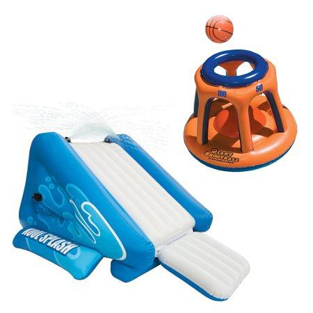 Intex Kool Splash Inflatable Swimming Pool Water Slide & Giant Basketball (Hood Swimming)