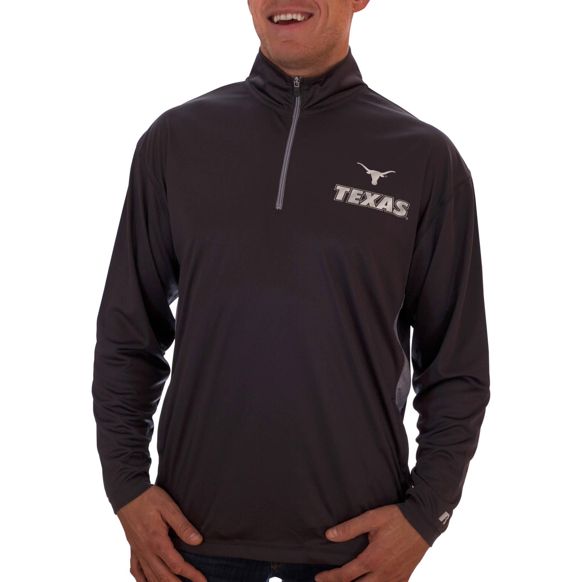 Russell NCAA Texas Longhorns Men's Athletic Fit Black/ Storm Gray 1/4-Zip Fitness Jacket