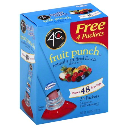4C Totally Light 2 Go Fruit Punch Drink Mix, 1.4 Oz., 24 Packet