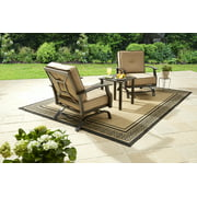 Better Homes and Gardens Carter Hills 3 Piece Outdoor Metal Chat Set with Beige Cushions