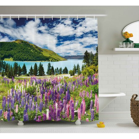 Nature Shower Curtain, Floral Mountain Meadow Valley by Lake with Blossom Petals Inspiration Picture, Fabric Bathroom Set with Hooks, Purple Fern Green, by Ambesonne