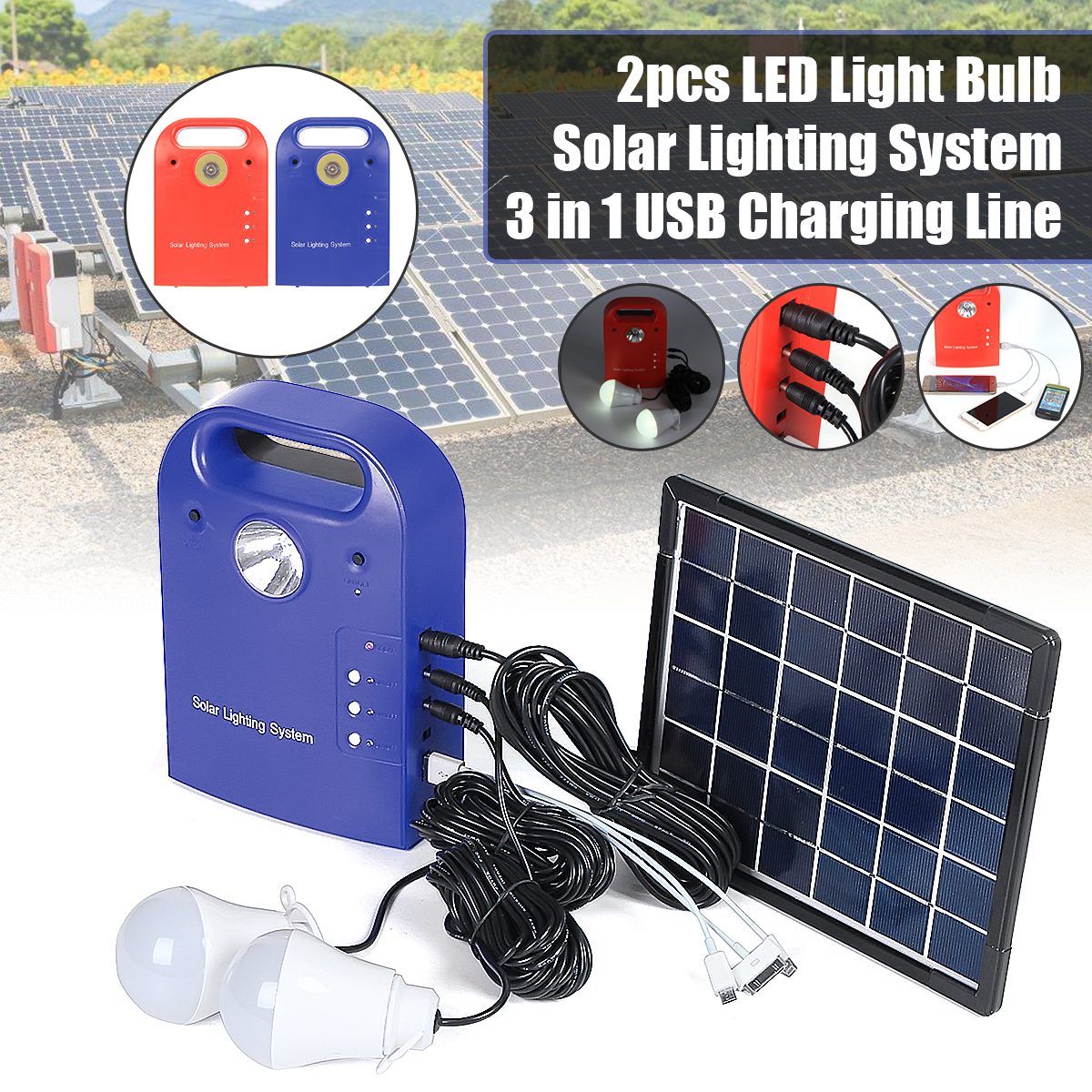 Portable Small DC Solar Panels Charging Generator Power with solar generator Highlight LED Light Bulb for Home Outdoor Tourism Picnic Camping
