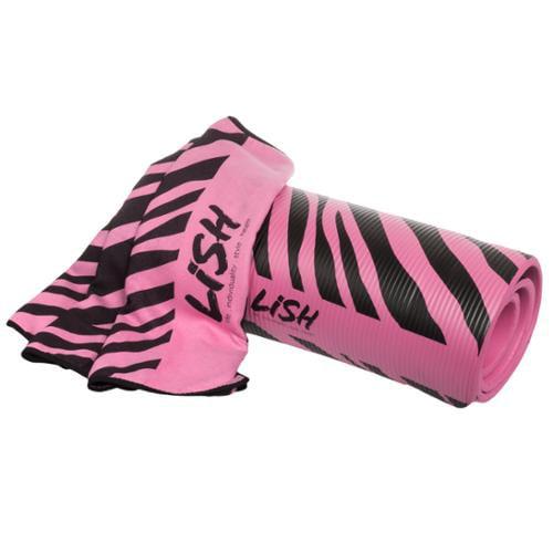 LISH Pink Zebra Print Foam Nonslip Exercise Pilates Yoga Mat & Microfiber Towel