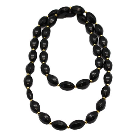 Black Faceted Bead Necklace (Black Faceted Oval Octagon Bead Necklace (30 Inch) )