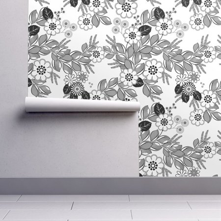 Peel-and-Stick Removable Wallpaper Black And White Floral Coloring Book