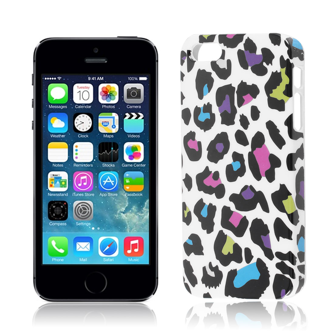 Leopard Print Hard Protector Skin Back Case Cover White Black for iPhone 5 5S