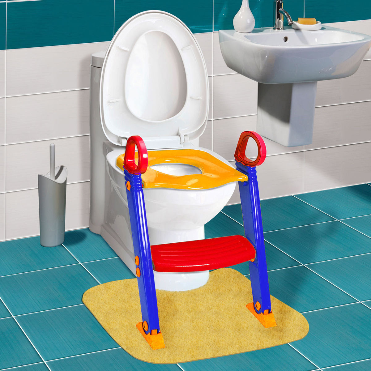 Trainer Toilet Potty Seat Chair Kids Toddler With Ladder Step Up Training Stool by Superjoe