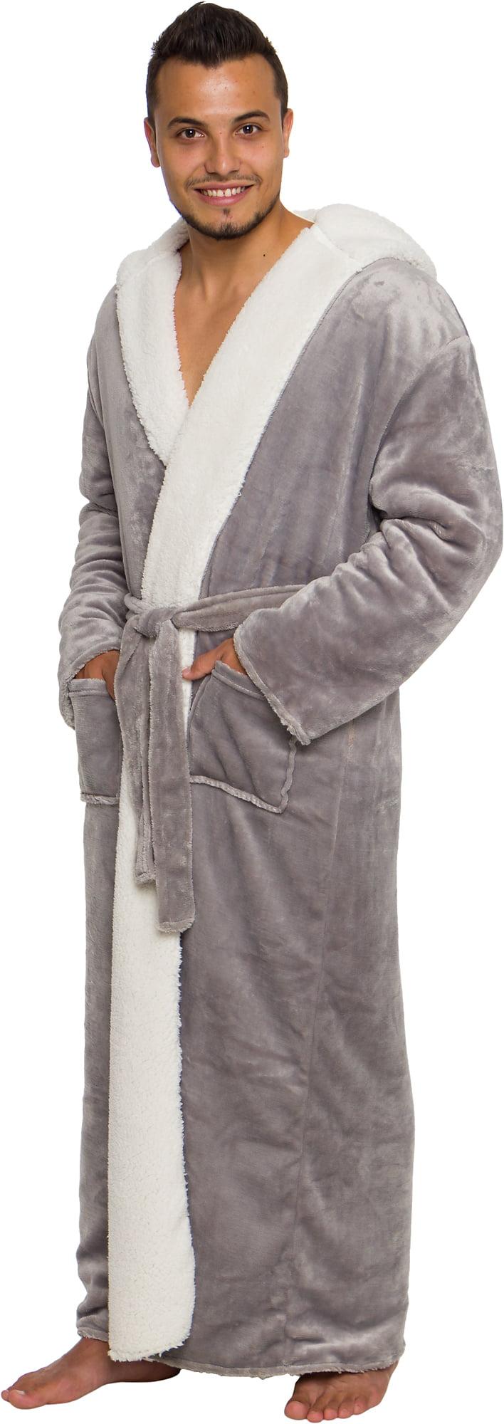 Full Length Luxury Plush Big Tall Robe Ross Michaels Mens Sherpa Lined Hooded Long Bathrobe Robes