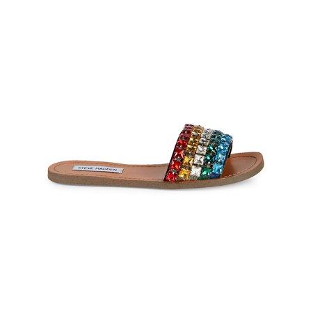 Womens Steve Madden Serenade Slip On Slide Sandals, Rainbow Multi, 8 US