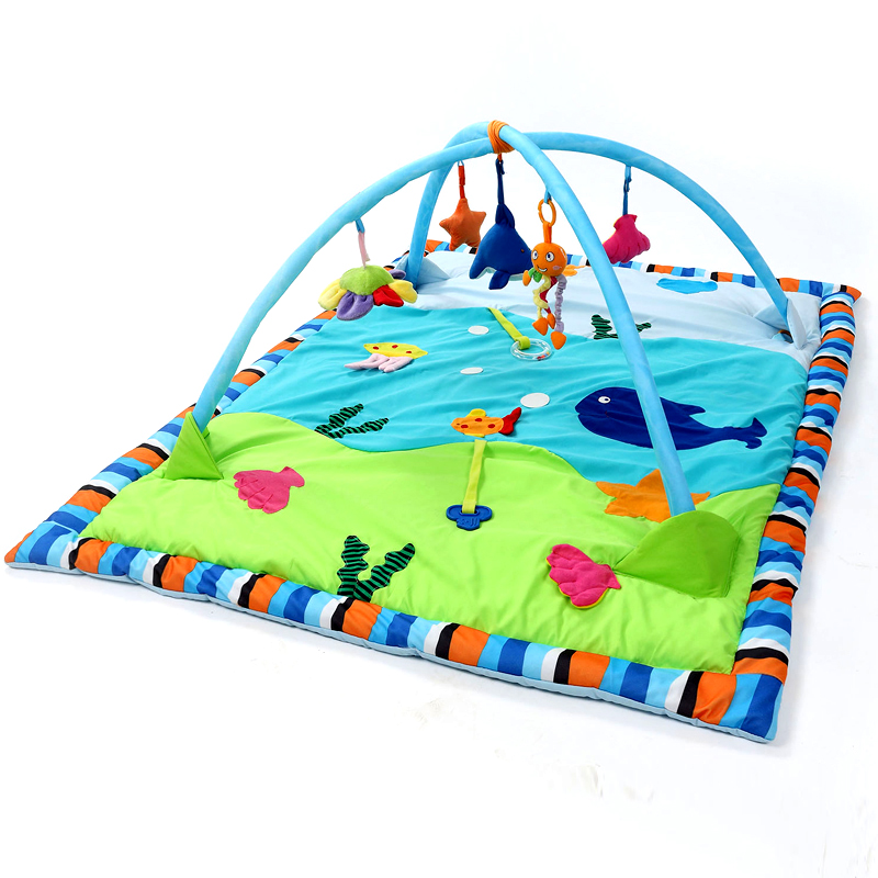 Baby Activity Gym Play Mat Newborn Toddler Toy Ocean Playland with Accessories for Infants and Toddlers 60x45x0.8 inches