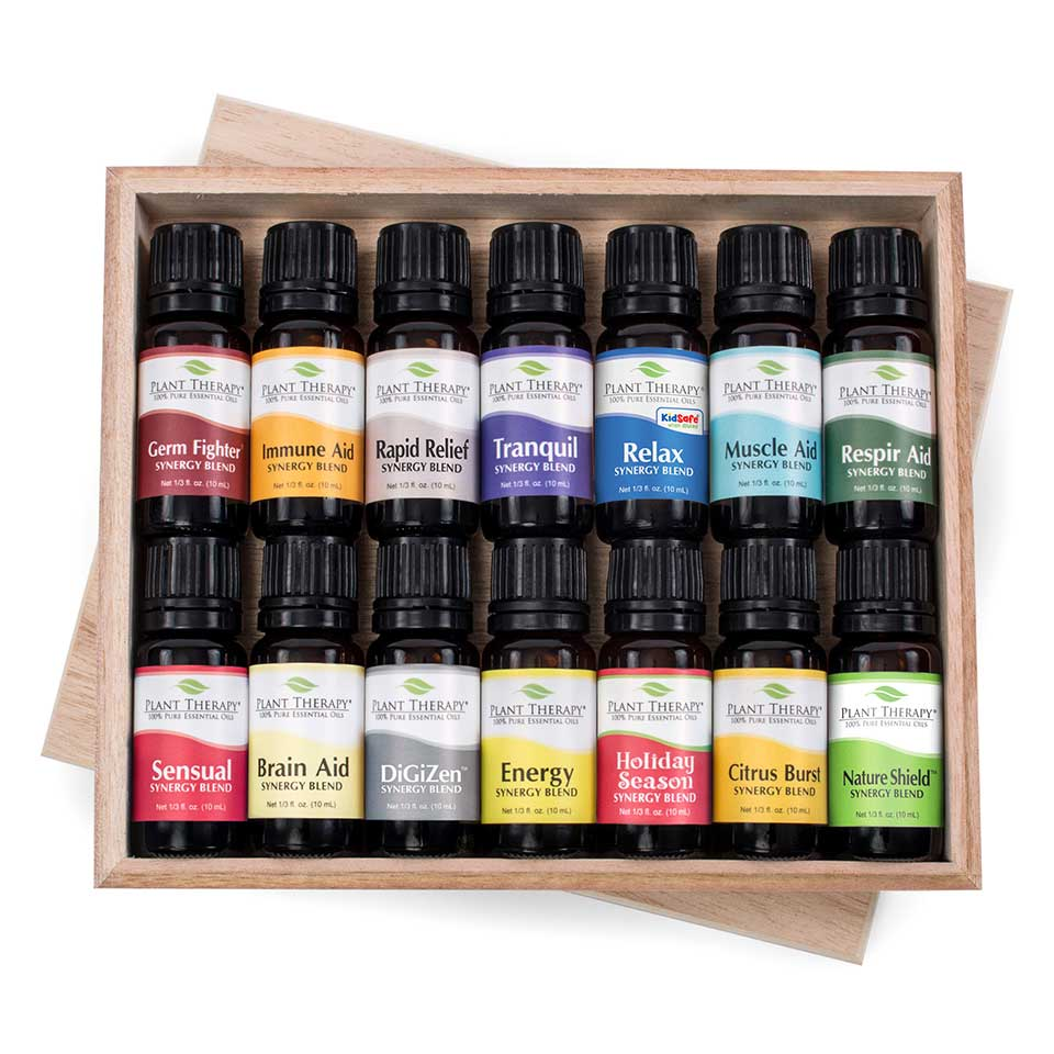 Plant Therapy Top 14 Essential Oil Synergies Set, 10 mL (1/3 fl. oz.) each, 100% Pure, Undiluted, Therapeutic Grade