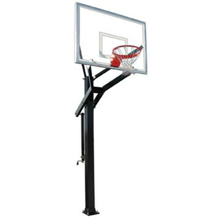 Steel Power Hoops (PowerHouse 660 Steel-Glass In Ground Adjustable Basketball System, Kelly Green)