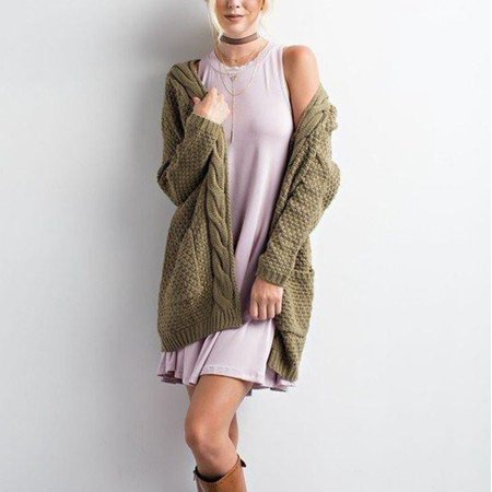 f60715fa6 VISTA - Women Boho Pullover Sleeve Open Front Chunky Warm Cardigans  Pointelle Long Cozy Sweater - Walmart.com