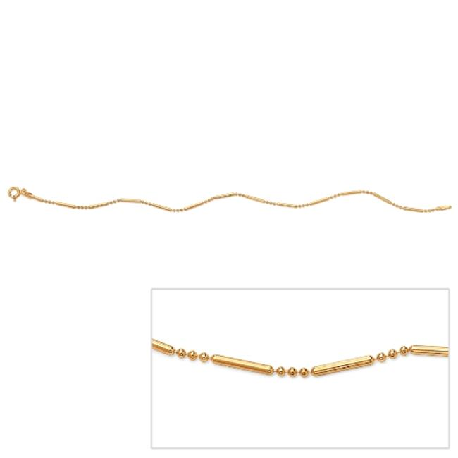 PalmBeach Jewelry 49865 18k Yellow Gold Over Sterling Silver Bar and Bead Link Ankle Bracelet 11''