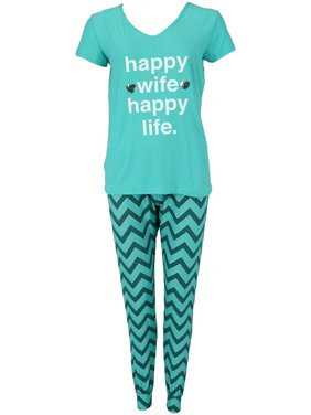 67f60cad30 Product Image Women s Plus Size Happy Wife Tee and Joggers Pajama Set