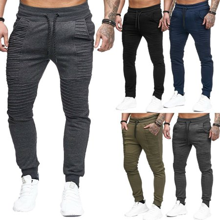 SUNSIOM Men Gym Slim Fit Trousers Tracksuit Bottoms Stiped Skinny Joggers Sweat Pants