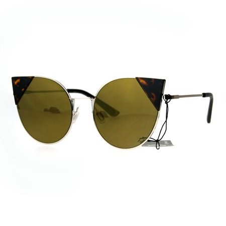 4a559445092 Womens Mirrored Futuristic Round Goth Bat Tip Cat Eye Sunglasses Tortoise  Brown - Walmart.com