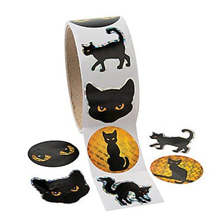 Black Cat Prism Halloween Roll Stickers ~ 100 Round 1.5