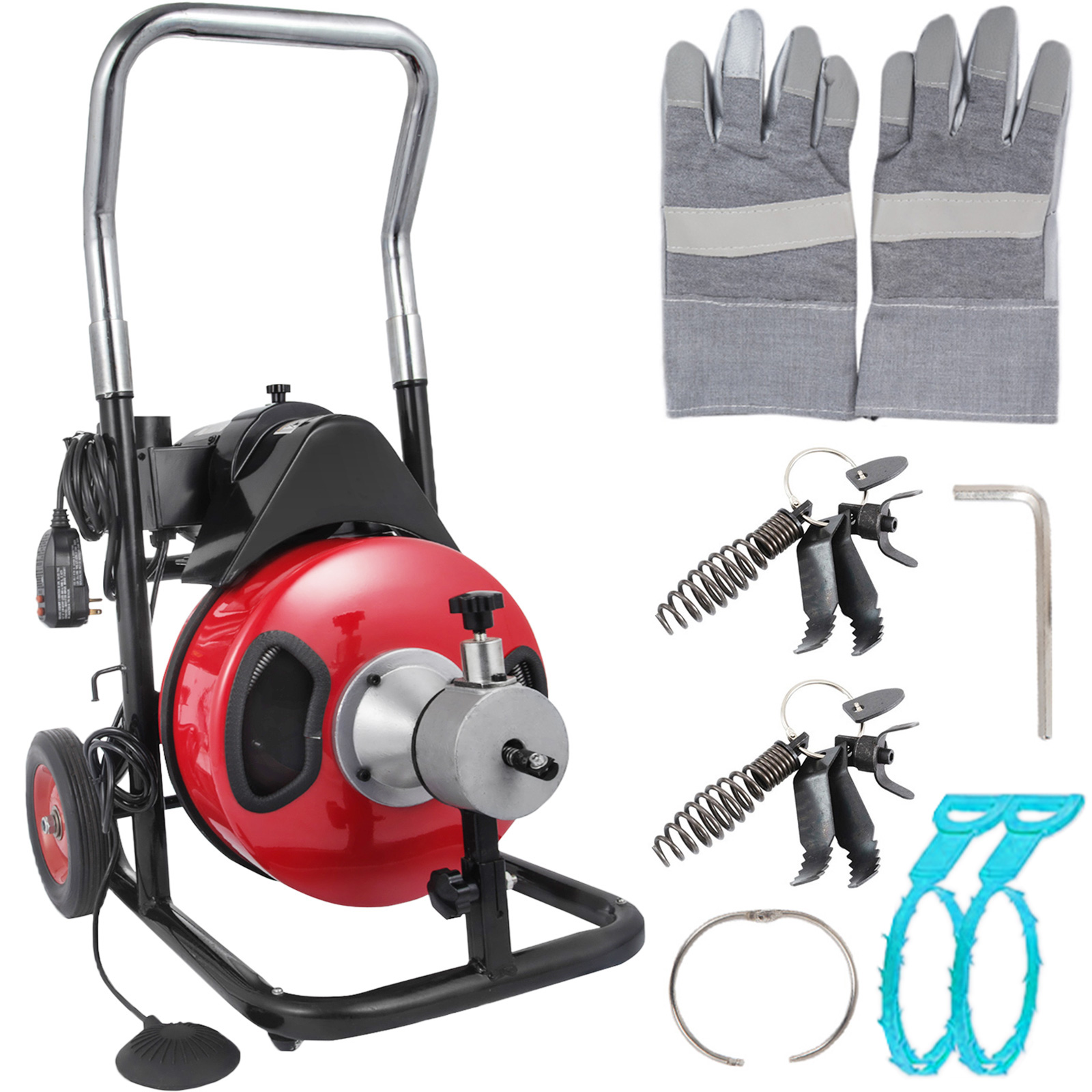 26ftx8mm 700W Portable Electric Drain Auger Plumbing Cleaner Cleaning Machine