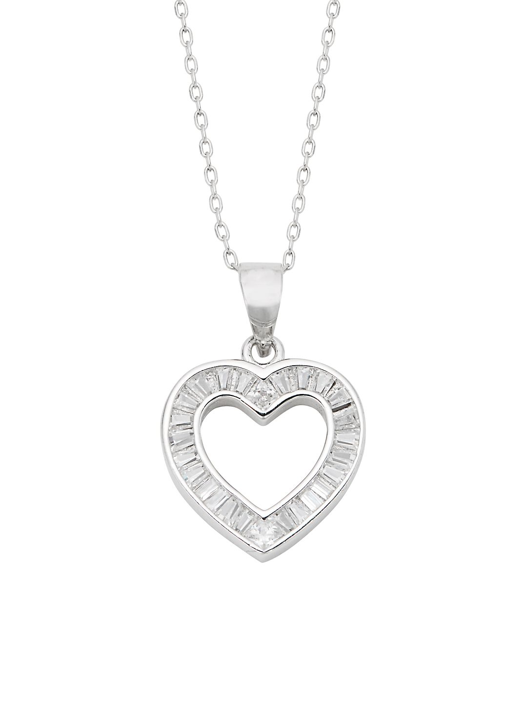 Sterling Silver and Cubic Zirconia Baguette Heart Necklace