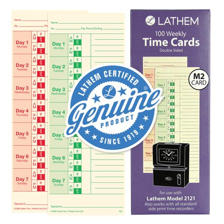Weekly Time Cards, Double-Sided, for Model 2121/Side-Print Time Clocks, 100 Pack (M2-100), Pack of 100 weekly time cards; 125# white tag stock By (Lathem Bi Weekly)