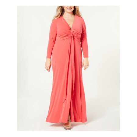 CALVIN KLEIN Womens Coral Gown Twist Front Long Sleeve V Neck Maxi Evening Dress Plus  Size: 22W