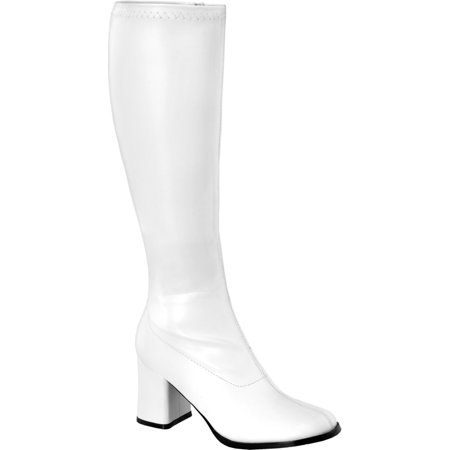 Womens Knee High Boots White GOGO 3 Inch WIDE CALF Sexy Block Heel Knee Boot Poly - White Gogo Boots Size 6