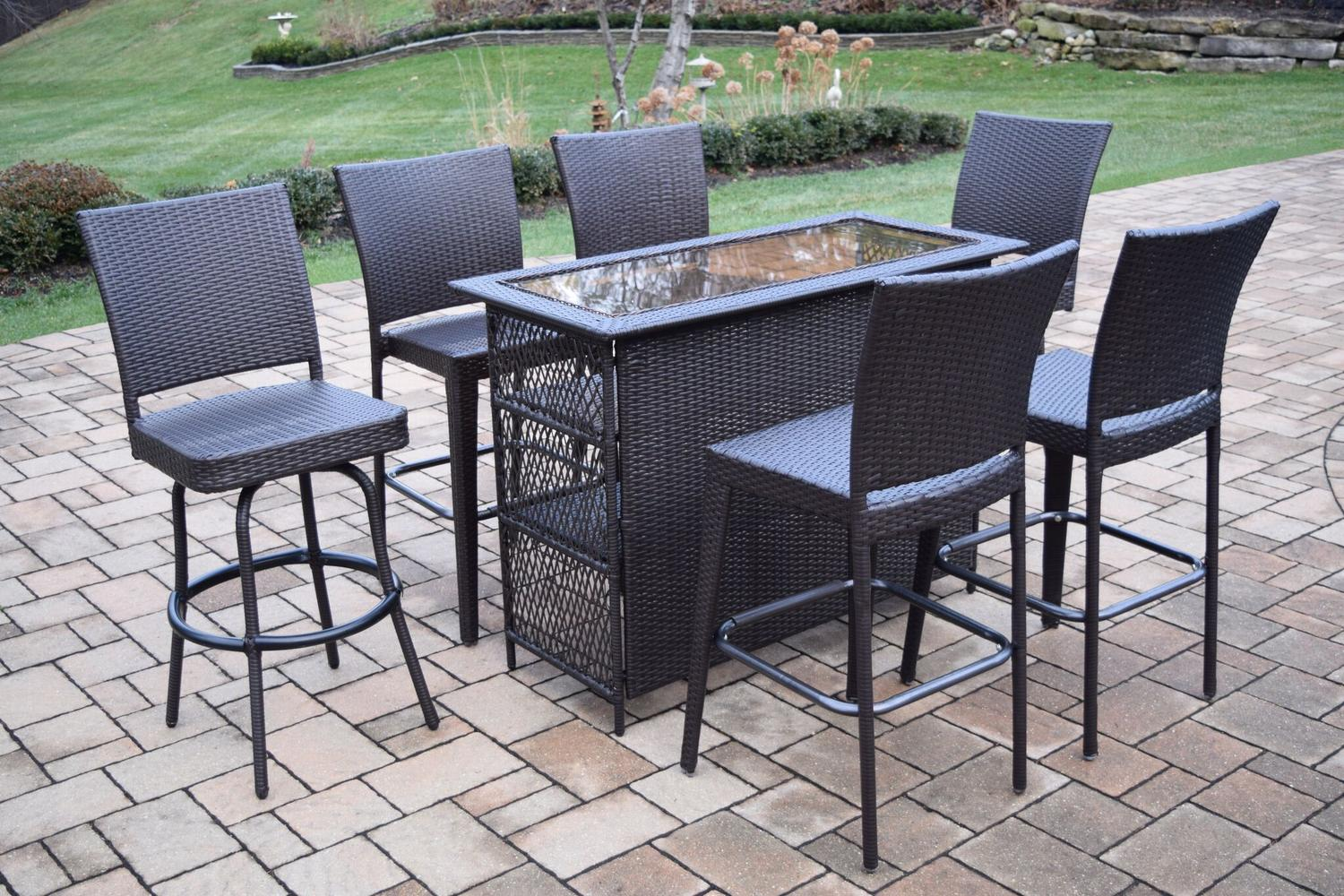 Charmant 7 Piece Coffee Brown Elite All Weather Resin Wicker Outdoor Patio Bar Set