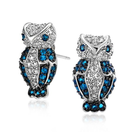 Simulated Sapphire CZ Owl Pave Stud Earrings Rhodium Plated